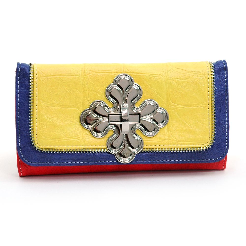 Health  Beauty Collection  - Multcolor Cross checkbook wallet w/ zipper trim accents - Red/Yellow/Blue, $25.99 (http://www.healthbeautycollection.com/multcolor-cross-checkbook-wallet-w-zipper-trim-accents-red-yellow-blue/)