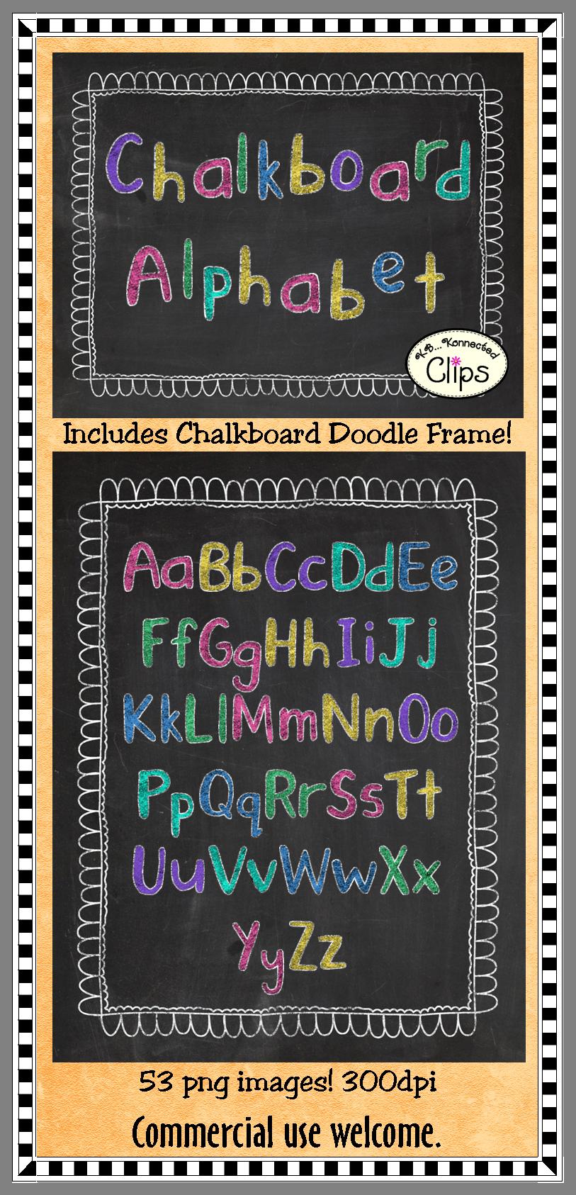 Chalk Transparent Border: Chalkboard Alphabet (upper & Lower Case