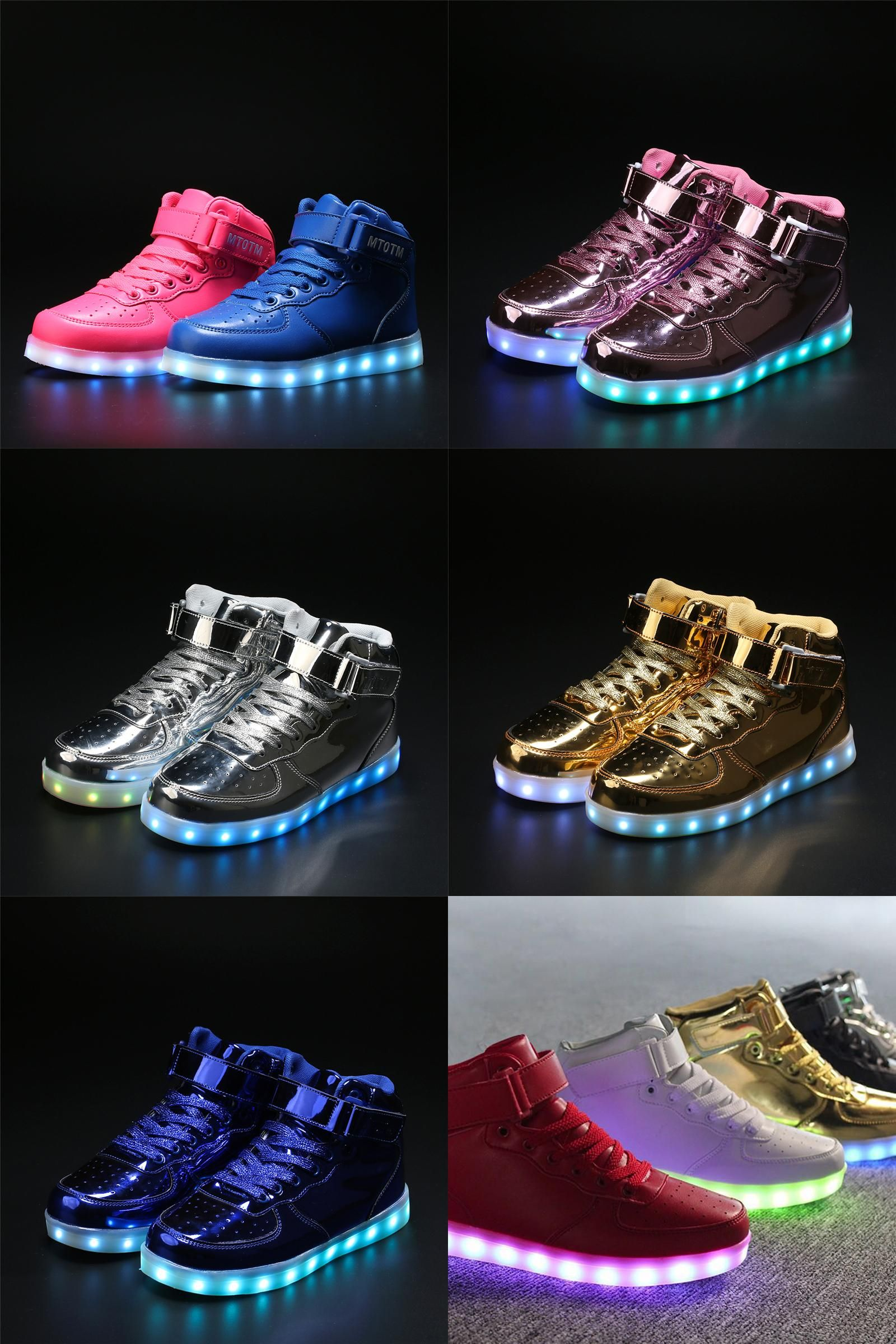 860e562044  Visit to Buy  New LED Shoes Men Light Up Leisure USB Charging Casual High