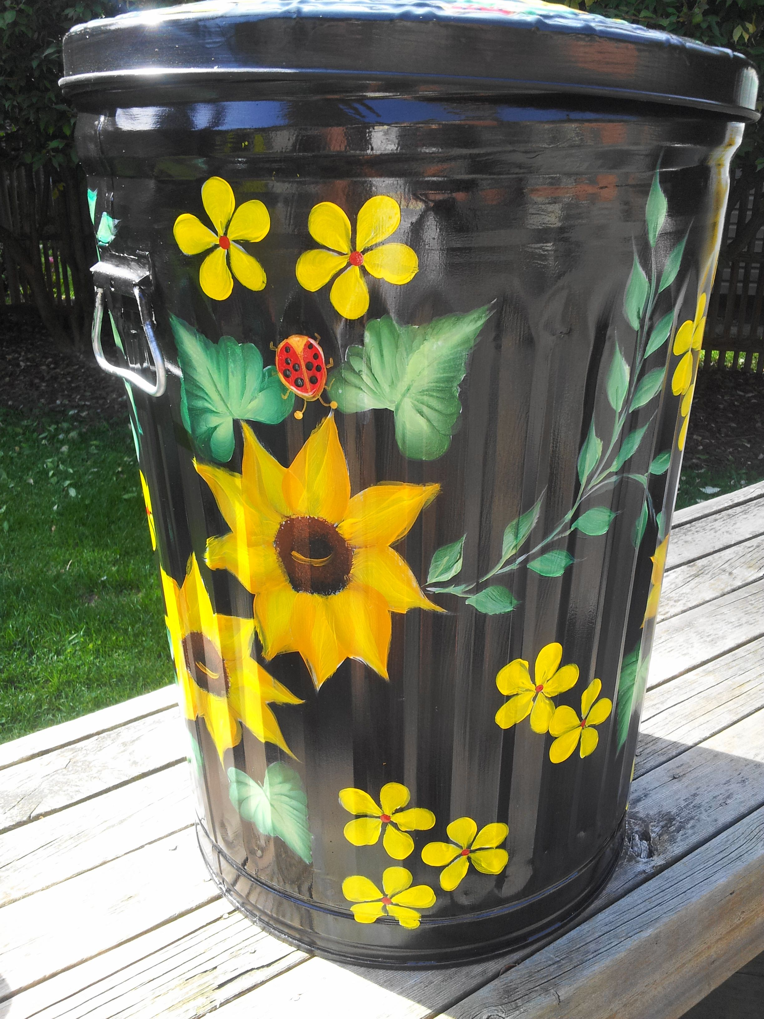 Colored Kitchen Trash Cans Hand Painted 20 Gallon Galvanized Can Krystasinthepointe
