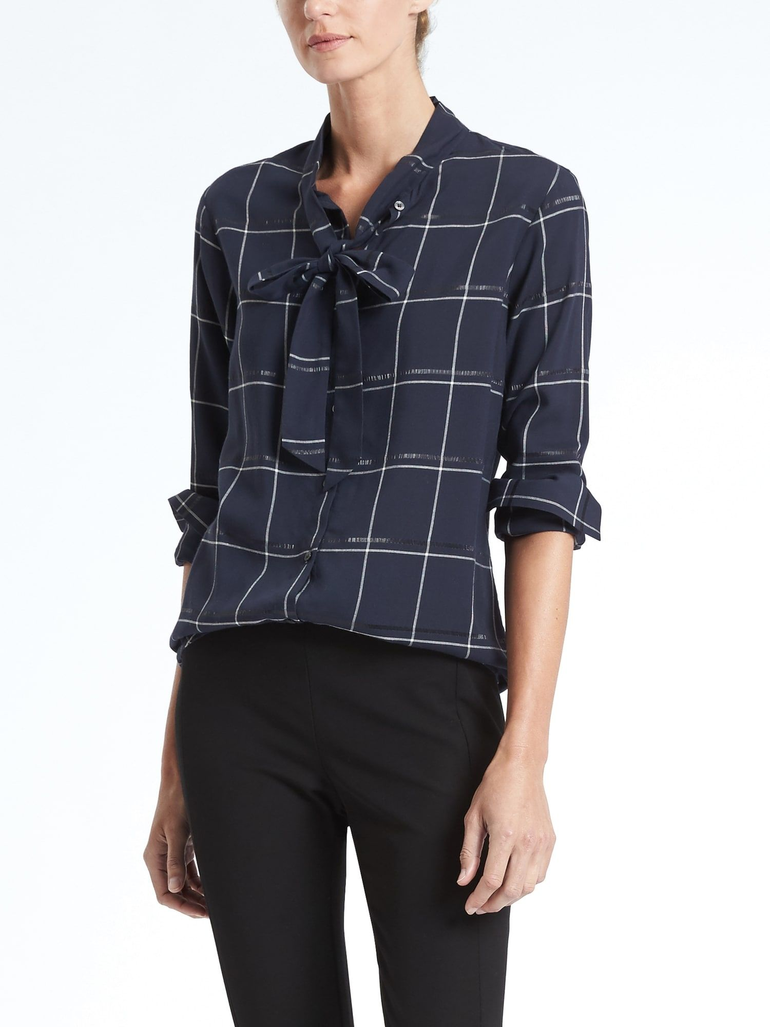 f7283d57fac Dillon-Fit Plaid Tie-Neck, $78, BR | Style: Haircuts, Outfits ...