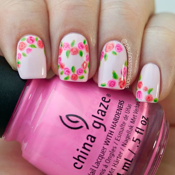 Valentine Roses Nail Art – Cute Flower Heart - Valentine Roses Nail Art – Cute Flower Heart (Paulina's Passions