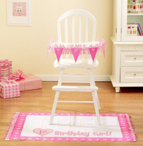 NEW Baby Girl s First Birthday High Chair Decorating Kit 2pc eBay