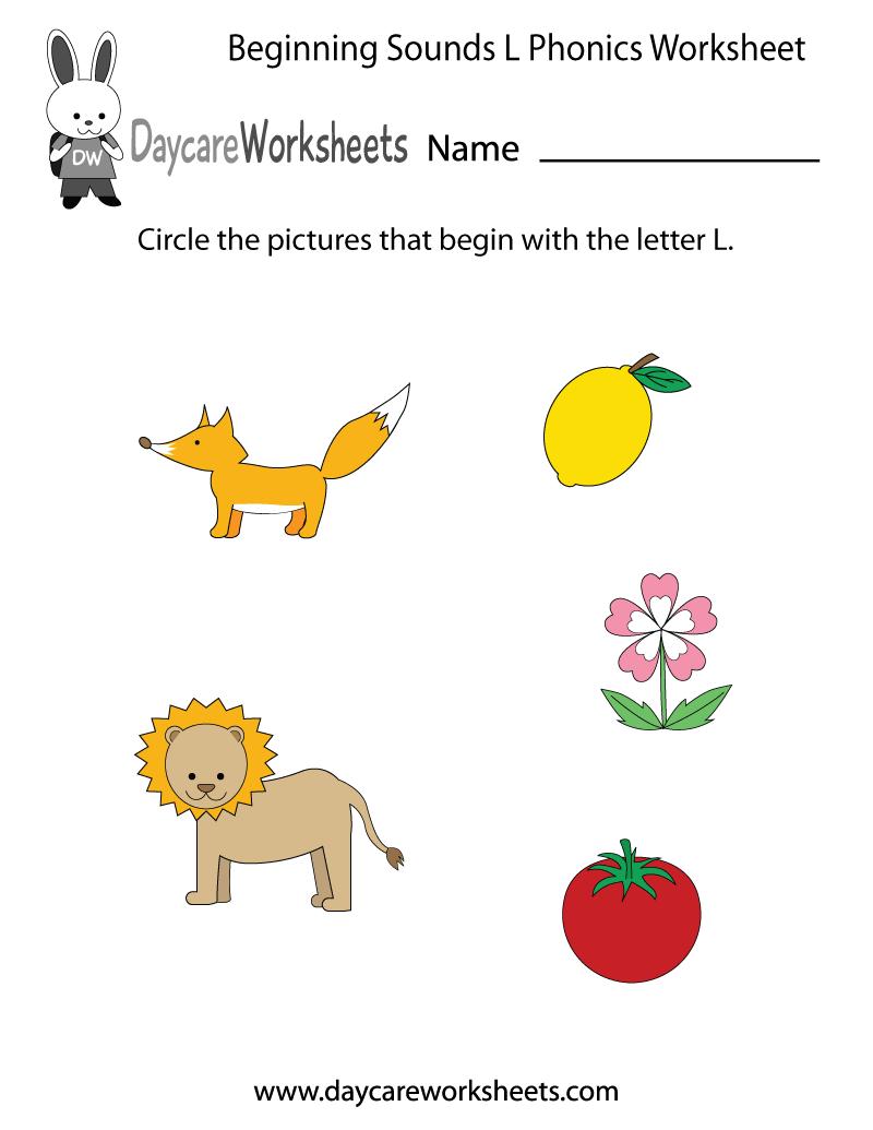 Free Beginning Sounds Letter L Phonics Worksheet For Preschool Phonics Worksheets Preschool Phonics Preschool Phonics Worksheets [ 1035 x 800 Pixel ]