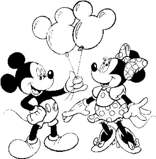 Mickey Minnie Balao Para Colorir Jpg 501 512 Boyama Sayfalari