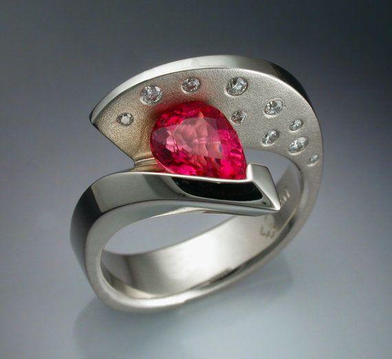 14k+white+gold+Pink+Tourmaline+and+Diamond+by+Metamorphosisjewelry,+$2400.00