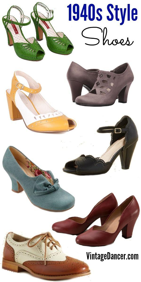 New 1940s Shoes: Wedge, Slingback, Oxford, Peep Toe ...