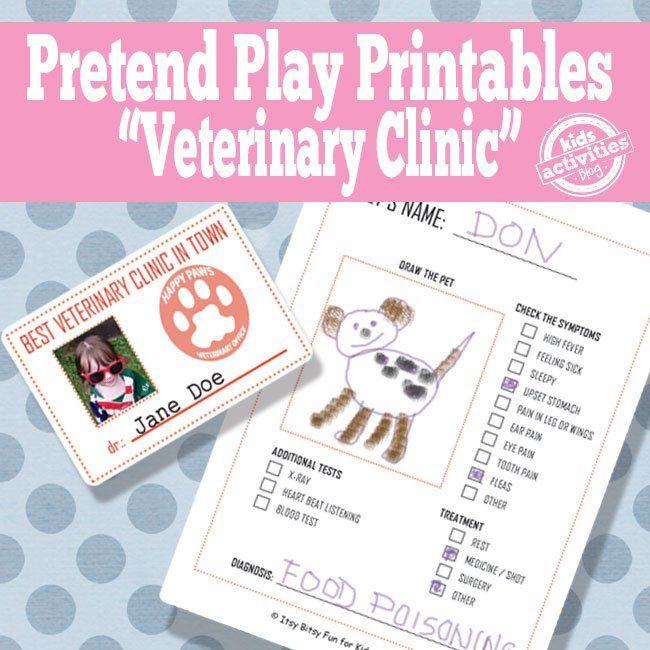 Super Cute Vet Pretend Play Free Kids Printables For Pretend Play Pretend Play Printables Printable Activities For Kids Printables Kids