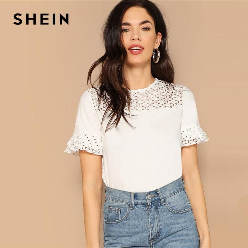 d018ac1ca0 SHEIN White Laser Cut Insert Ruffle Cuff Casual Tee 2019 Summer Casual Women  Hollow Out Elegant Minimalist Tshirt Tops