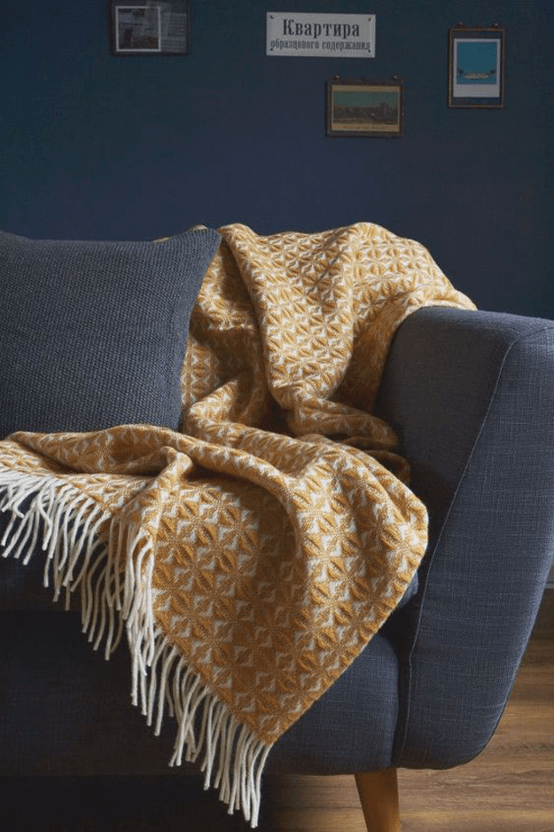 A Muted Ochre Yellow Throw Blanket