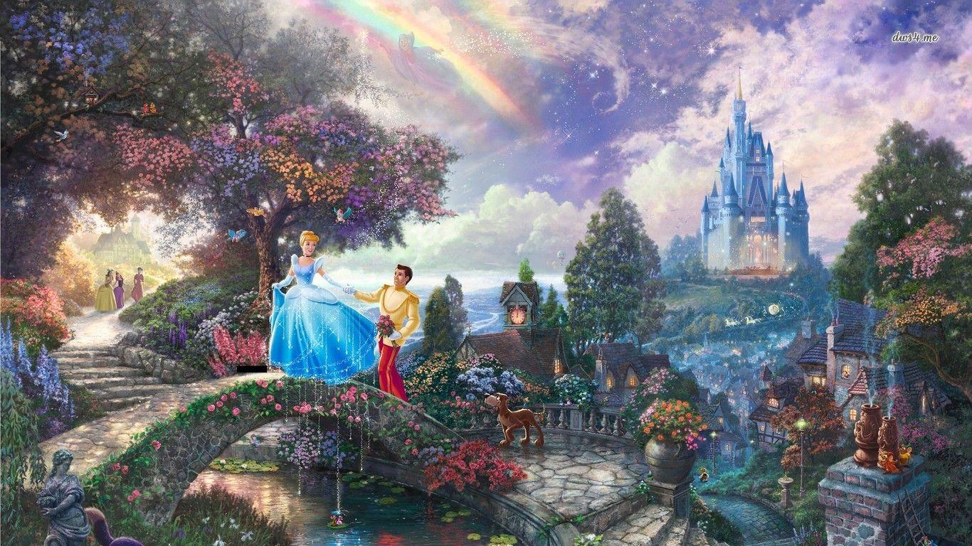 Cinderella Wallpaper 1366x768 Cinderella Wallpaper Disney Paintings Kinkade Disney