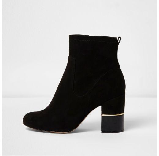 Block heel ankle boots, Black