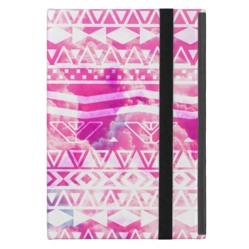 Girly White Aztec Pattern Bright Pink Clouds Sky iPad Mini Covers