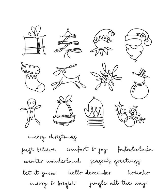 Create whimsical Christmas designs with the December Doodles Cling Mounted Rubber Stamp Set by Tim Holtz for Stampers Anonymous. The package includes 23 cling mounted rubber stamps featuring images including a doodled Santa, tree, stocking, expressions including