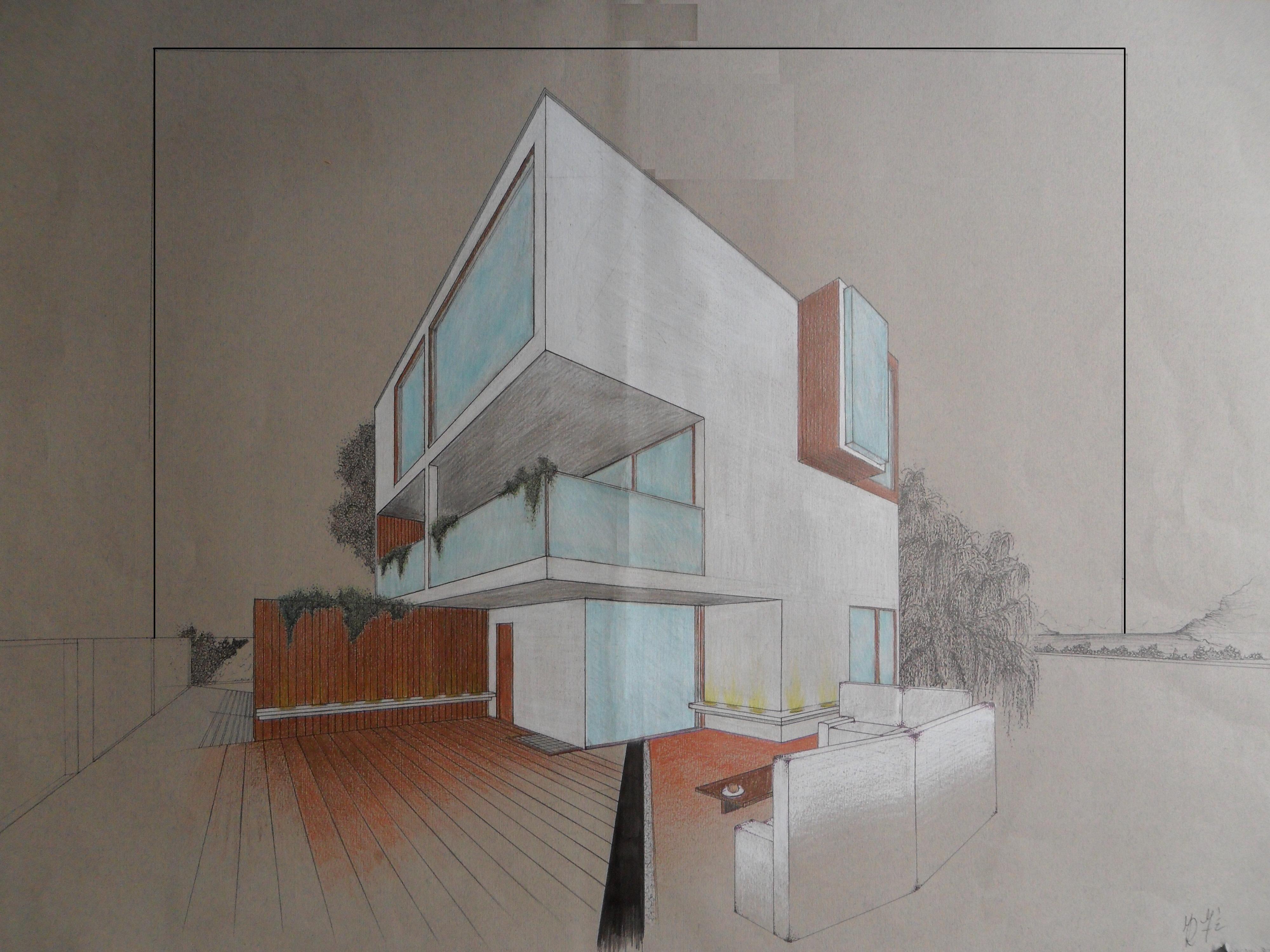 Camera Da Letto In Prospettiva Centrale progetto casa in un cubo di 9 metri: prospettiva (con