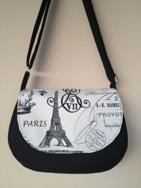 Paris Eiffel Tower Black and White Shoulder Bag / by NormasClay, $35.00
