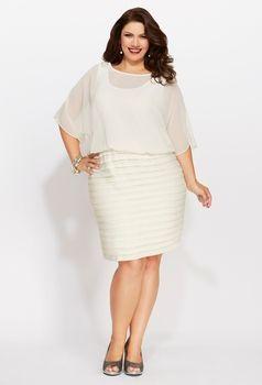Avenue Plus Size Chiffon Pleat Bottom #Dress $98.00 via Catalog ...
