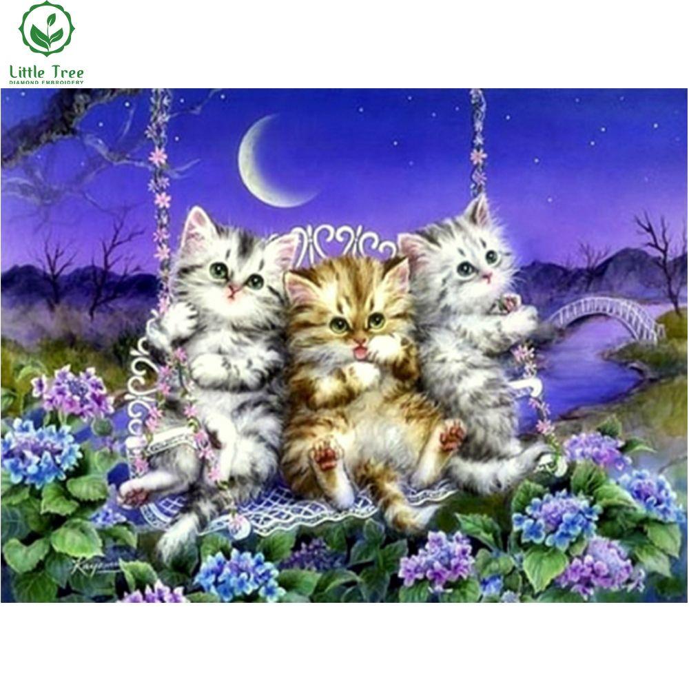 Three Kitten Swing At Moonlight Novelty Pastoral Needlework Full Diamond Painting Cross Stitch Wall Decor 5d Diamon Bemalte Kreuze Katzen Kunst Katzenzeichnung