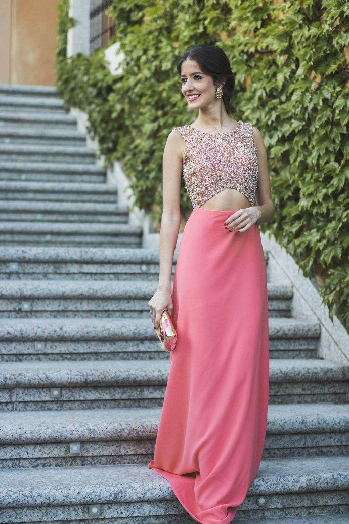 Vestido largo espalda abierta coral | Gala | Pinterest | Coral ...