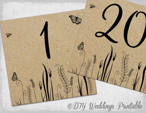 Rustic Table Numbers Template Butterfly Meadow Number Cards Diy