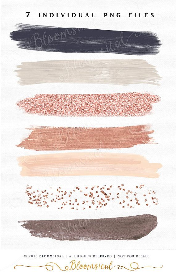rose gold brush strokes clip art hand painted muted blush nude gold glitter confetti graphic. Black Bedroom Furniture Sets. Home Design Ideas