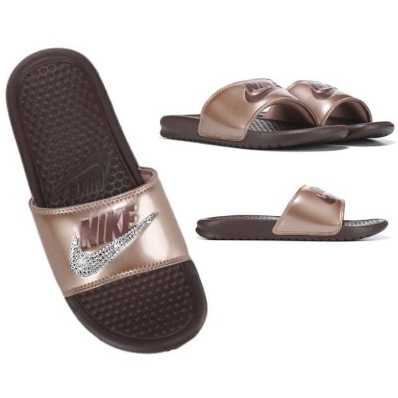 hot sale online be545 2c243 Bronze NIKE Slides Bedazzled with Swarovski Sandals Women s Sparkly Shoes  Great for Christmas by SparkleBoutique2U on Etsy