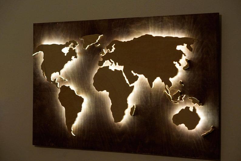 Wood World Map Wall Art Flat Earth Led World Map As Wall Etsy World Map Wall Art Map Wall Art Wood World Map