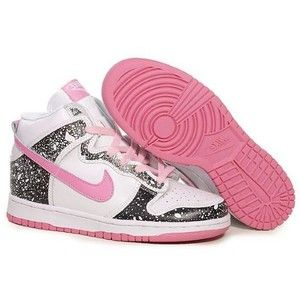 nike high tops pink and white