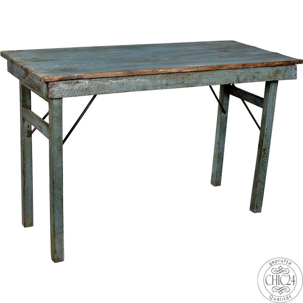 Rustikaler Holztisch blau - klappbar - chic24 - Vintage Möbel und ...