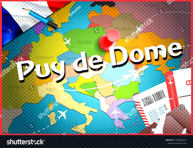 Puy de Dome city travel and tourism destination concept. France flag and Puy de Dome city on map. F