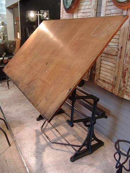 Antique French Rare Architect's Drafting Table signed Darnay - SOLD - - Antique French Rare Architect's Drafting Table Signed Darnay