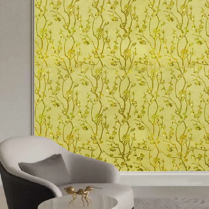 Dundee Deco Falkirk Mcgowen 26 6 Sq Ft Gold Mustard Yellow Green Vinyl Paintable Textured Floral Self Adhesive Peel And Stick Wallpaper Lowes Com Peel And Stick Wallpaper Vinyl Wallpaper Wallpaper Roll