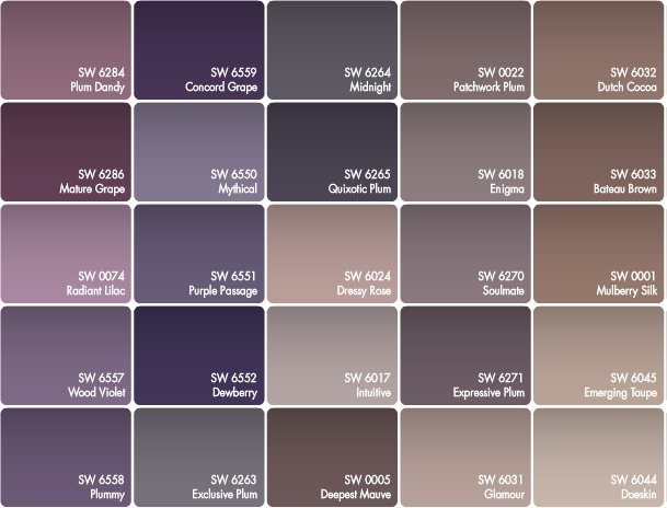 Best paint color for walls with purple colors that for Color charts for painting walls