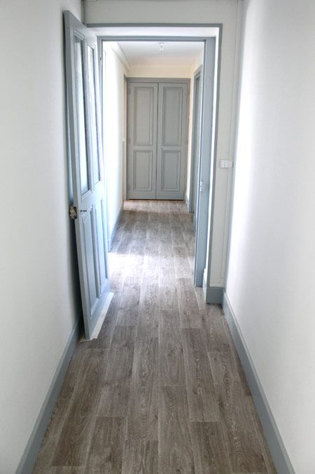 love these greyish brown floors plus light blue gray doors u0026 trim with white or light gray walls. : door floor trim - pezcame.com