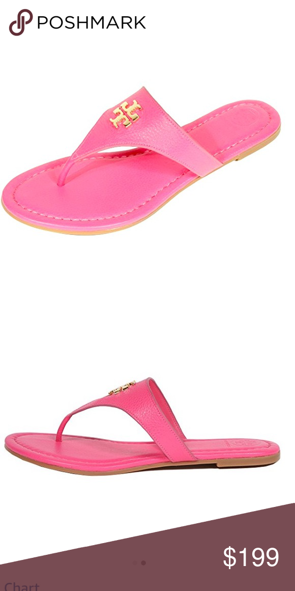 82cf66a93198d5 Tory Burch Laura Thong Flat Sandals in Pink Brand new pink sandals are  perfect for summer. Sandal is full leather with signature double T logo in  center.