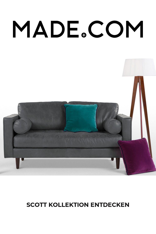 Scott 2 Sitzer Sofa Premium Leder In Grau In 2020 Sofa Couch Furniture