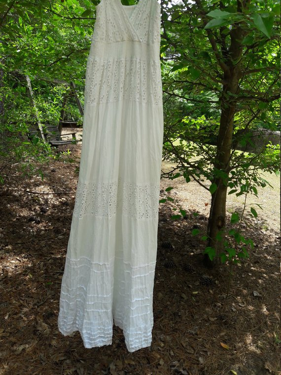 White Boho Beach Dress Hippie Wedding Dress Casual Beach Wedding