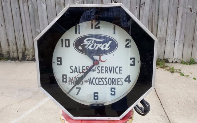 Old Antique Vtg 30s 40s Ford Sales Service Parts Dealership Neon Sign Clock Ford Sales Old Antiques Neon Signs