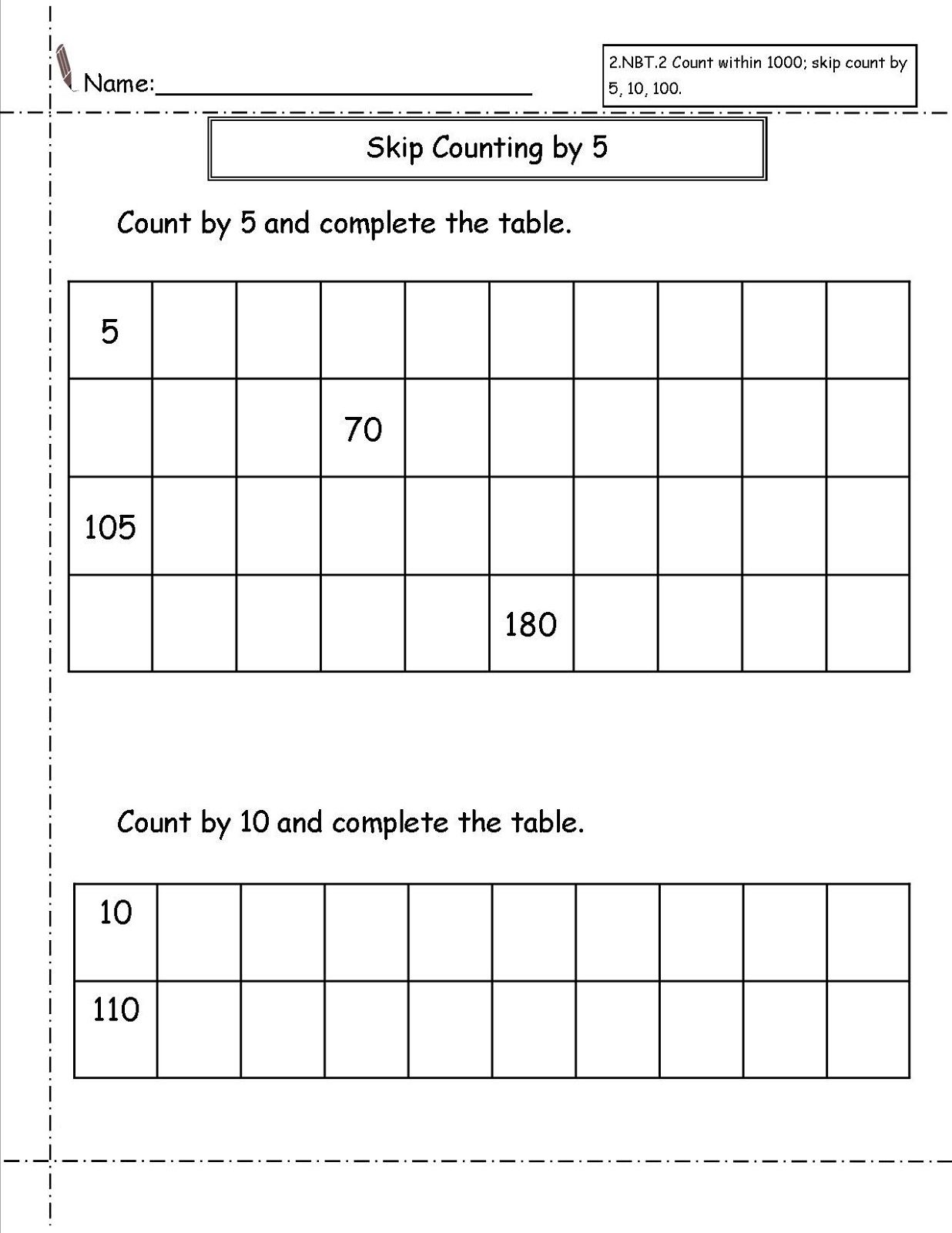 Skip Count Worksheets Printable Activity Shelter – Skip Counting Worksheets 2nd Grade