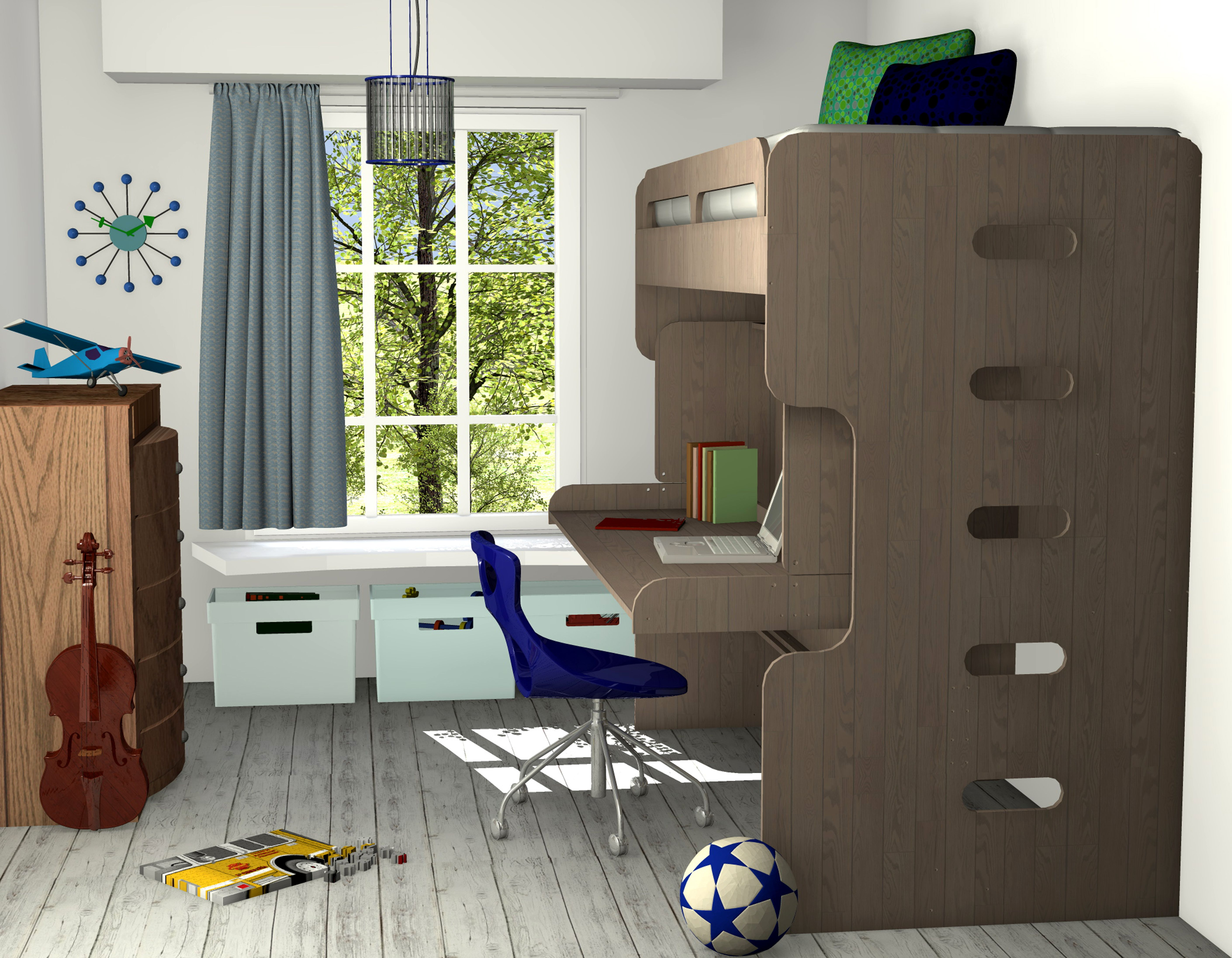 Junior loft bed ideas  A little boysu room with a muted color palette we designed for a