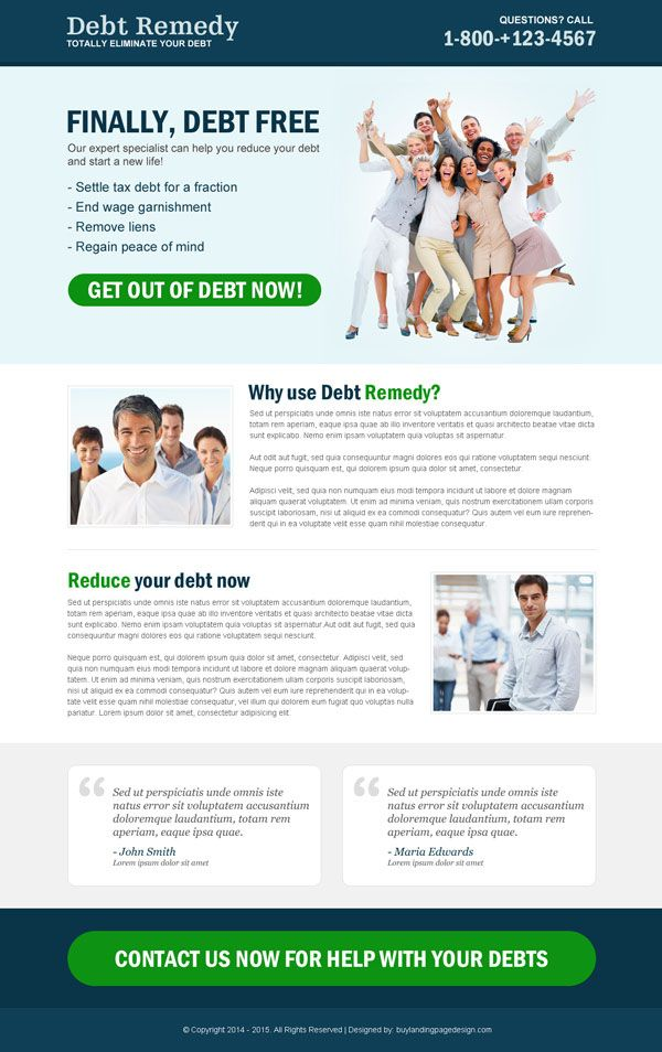 Credit Card Debt Relief And Settlement Landing Page Designs Credit Card Debt Relief Debt Relief Programs Landing Page Design