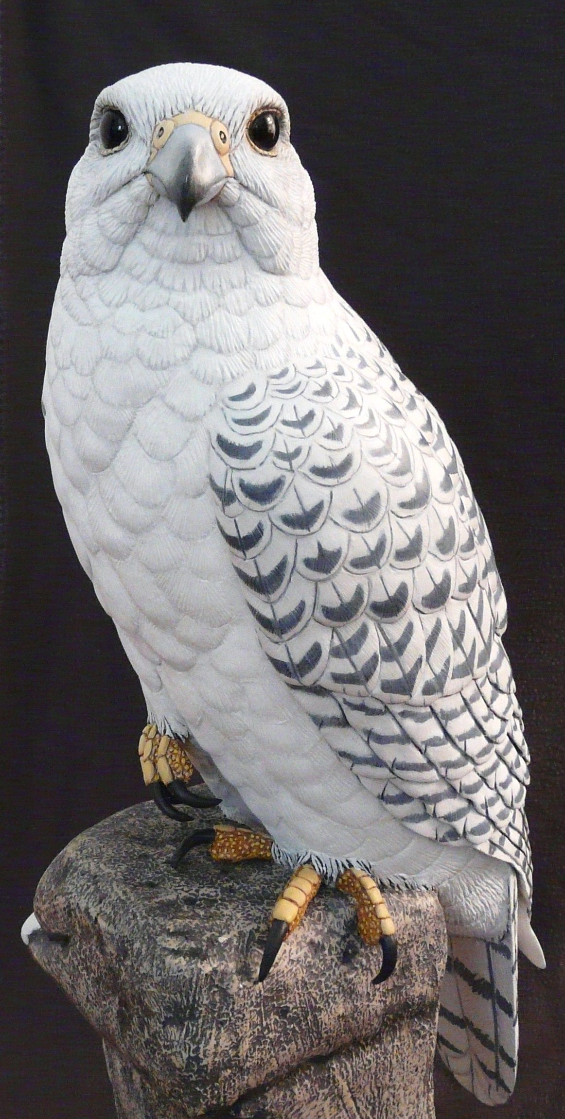 Gyrfalcon bird carvings of carved wood artist tim