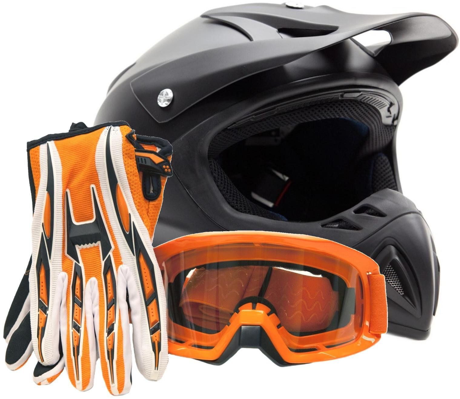 Adult Matte Orange Helmet Motocross Combo Black Orange Gloves Goggles OffRoad