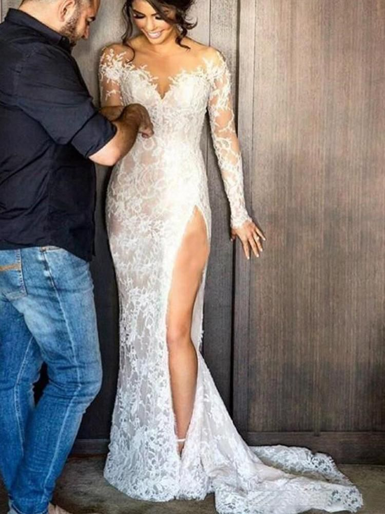 onlybridals Sexy Lace Mermaid Wedding Dresses 2019 Illusion Appliques Long Sleeves Train Bride Dress Customized