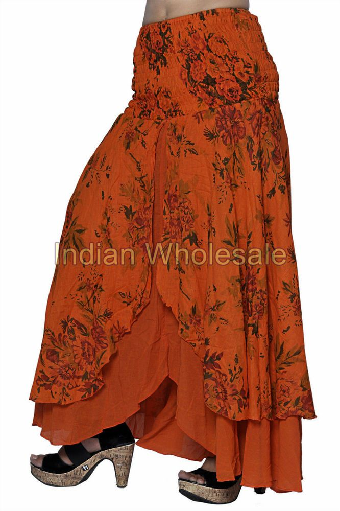 aec49a972e Indian Trendy Stylish Cotton Orange Floral Print Skirt Traditional Skirts  IWUS #Handmade #FullSkirt