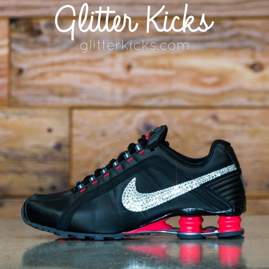 d3b7ec085b93 Nike Shox Junior + Swarovski Crystal Rhinestone Swoosh - Black Pink ...