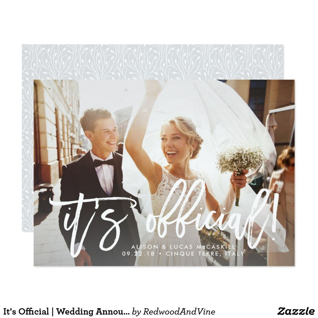 It S Official Wedding Announcement Zazzle Com Wedding Announcements Modern Wedding Announcements Marriage Announcement