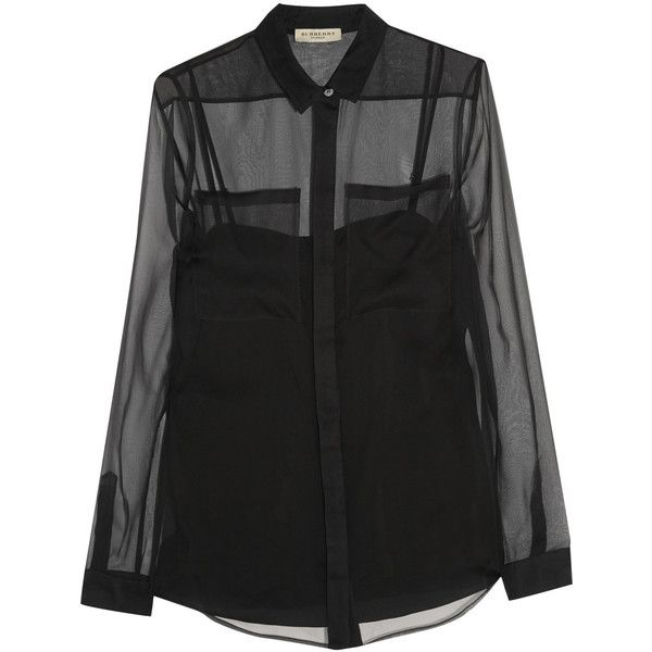Burberry London Silk-organza shirt ($209) ❤ liked on Polyvore featuring tops, black, loose fitting tops, fitted black top, black top, fitted shirts and camisole tops