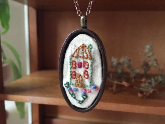 #Jewelry  #Necklace  #Fiber # thehornet'snest  #hand #embroidery  #needlework  #wood #jewelry #pendant  #gift  #christmas gift #sweet #house  #custom house  #christmas gift  #colorful house  #house jewelry