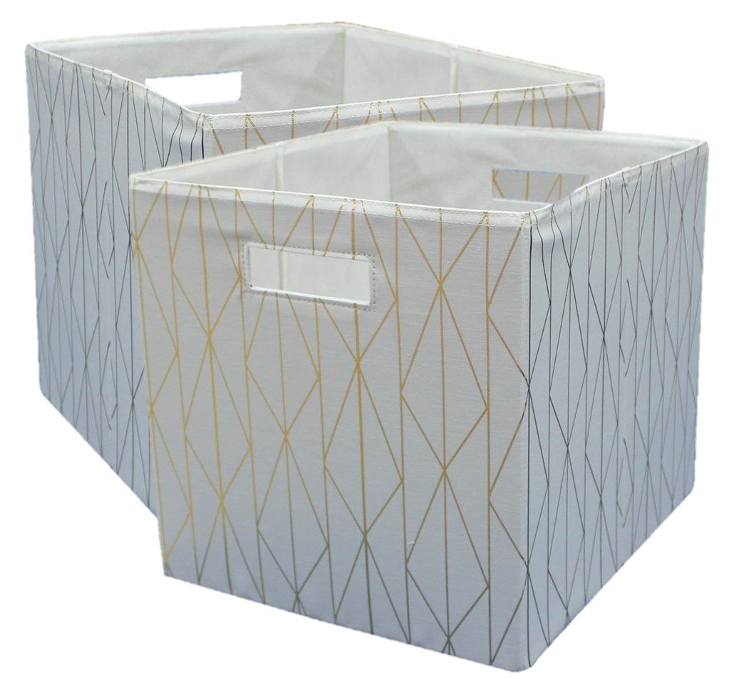 Better Homes Gardens Fabric Cube Storage Bins 12 75 X 12 75 Set Of 2 Gold Ivory Walmart Com In 2020 Cube Storage Bins Cube Storage Storage Bins